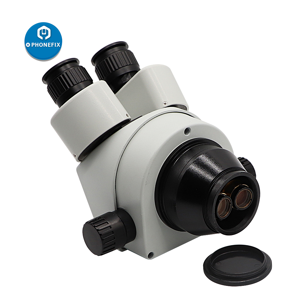 Image 3 - 3.5X 90X Trinocular Stereo Microscope Head Simul Focal WF10X/20 Eyepiece Auxiliary Objective Lens for Phone PCB Soldering RepairMicroscopes   -