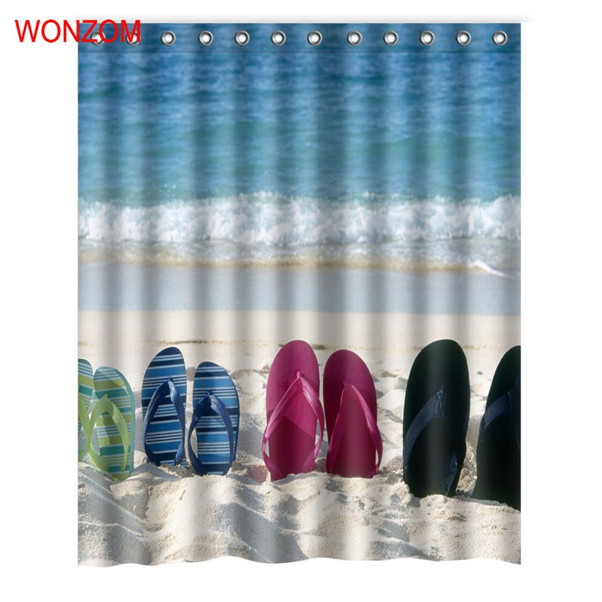 WONZOM Beach Slippers Shower Curtains with 12 Hooks For Bathroom Decor Modern Bath Waterproof Curtain Accessories