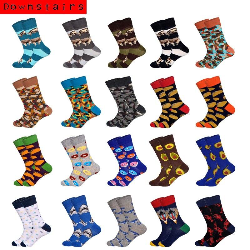2019 Hot Breathable Men Socks Fashion Camouflage Bread Sloth Hip Hop Harajuku Novelty Socks Cotton Gifts For Men