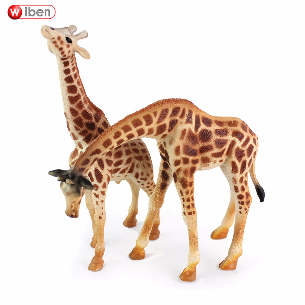 Wiben Classic Wild African Simulation Animals Giraffe Solid PVC Model Action & Toy Figures For Kid Birthday Gift wiben animal hand puppet action