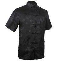 Thời Trang mới Đàn Ông Da Đen của Satin Shirt Top Trung Quốc Cổ Điển Kung Fu quần áo Ngắn Tay Áo Vintage Tang Phù Hợp Với S M L XL XXL XXXL