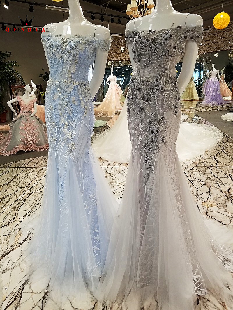 QUEEN BRIDAL Sexy Evening Dresses Long Blue Gray Mermaid Tulle 3D Flowers Beaded Party Gown Prom Dress 2019 Robe De Soiree BY10