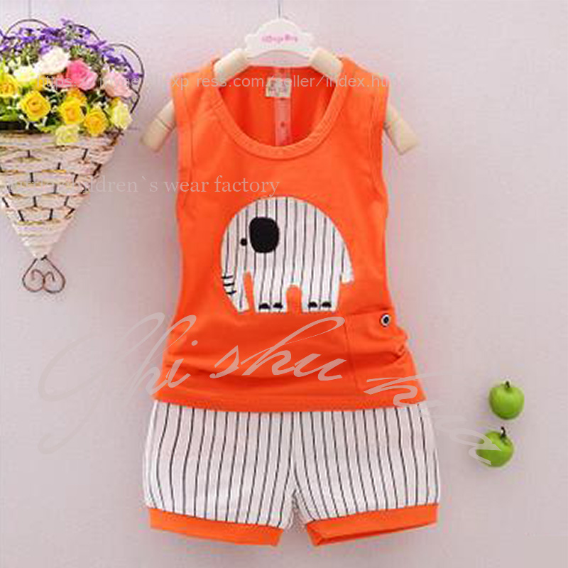 Child Clothing Set Young Child Clothes Cotton Vest Cartoon Elephant Print Shorts 1 3 Y Baby Quality Children 39 s Wear Hot Sale in Clothing Sets from Mother amp Kids