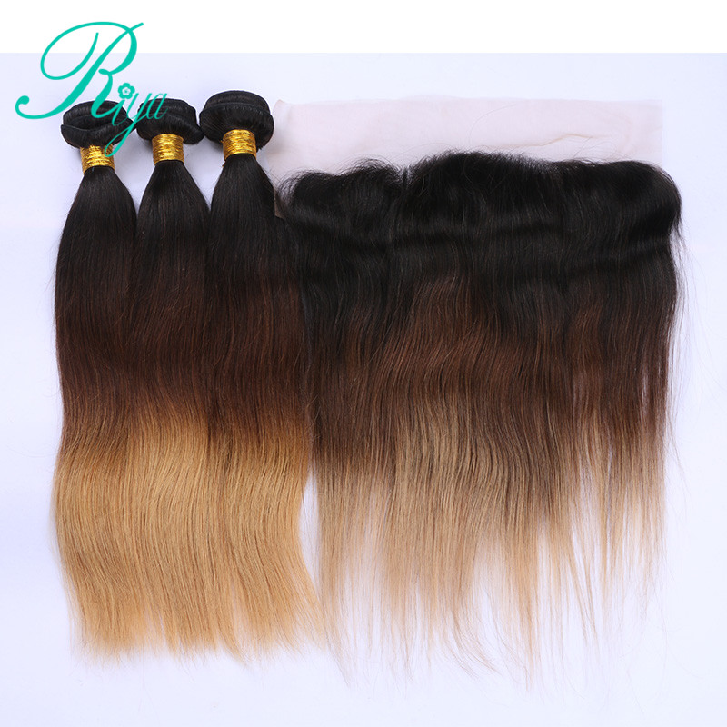 Riya Hair 1B/4/27# Color Straight Human Hair 3/4 Weft Hair Extension With 13* 4 Lace Frontal Ombre Brazilian Remy Hair