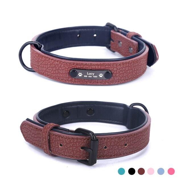 Personalized Dog Collars adjustable Soft Leather Custom Dog Collar   2