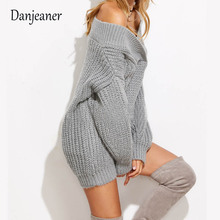 2017 European and American explosions fall / winter new personality deep v shoulder loose solid color thickened sweater women