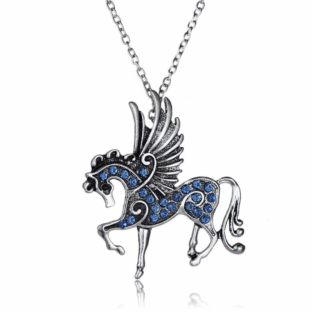 Старинное серебро синий кристалл лошади летают Pegasus Животные кулон Цепочки и ожерелья Для женщин девушка свитер очарование Jewelry колье ворот...