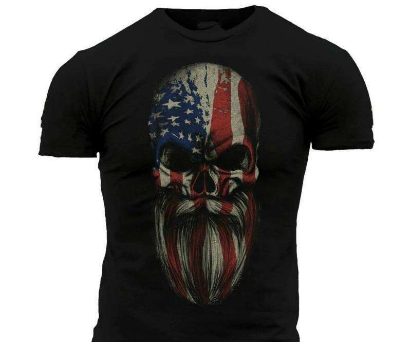 Grunt Style American Beard Skull Men's T Shirt Sizes 3xl ( Buy A T Shirt Today To Send A Gift ) Print Short Sleeve Tshirt(China)