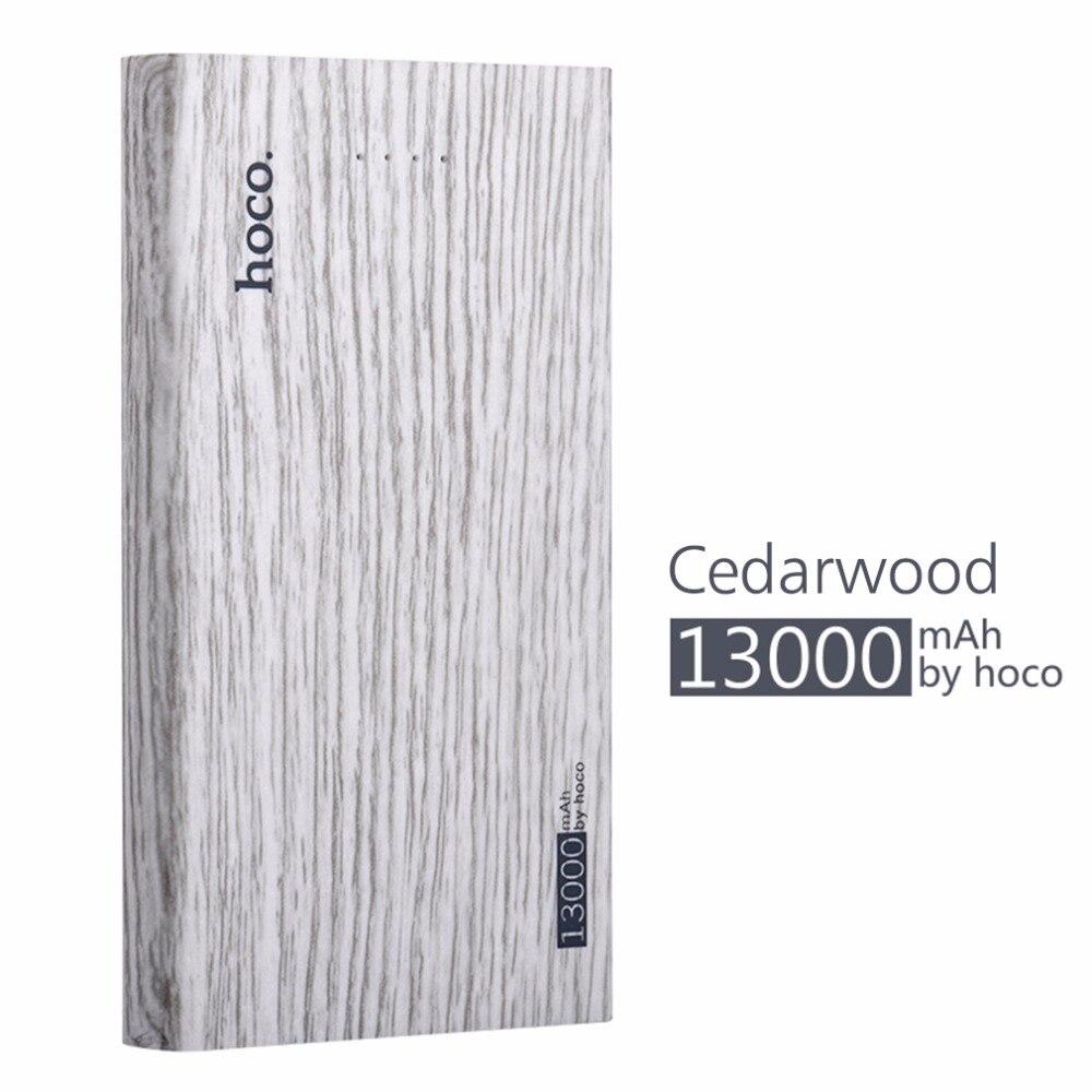 imágenes para HOCO 13000 mAh ultra-delgada Cargador Rápido de Batería Externa PowerBank banco de la Energía Del Teléfono Móvil de madera de impresión banco pover para Teléfono inteligente