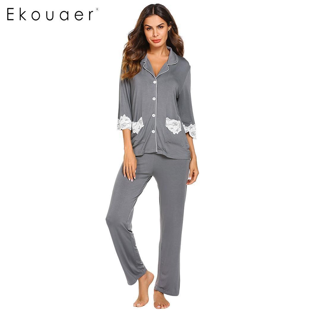 Ekouaer Women Cotton Pajamas Set Nightwear Casual Lace Patchwork Three Quarter Sleeve Shirts Long Pants Pajama Suits Sleepwear