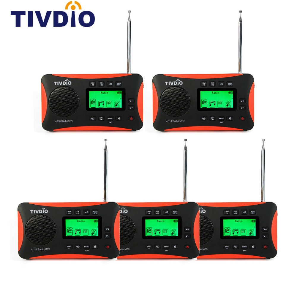5pcs TIVDIO V-116 Portable Radio FM MW SW Multiband Radio Receiver MP3 Player with Sleep Timer Alarm Clock Radio F9206A 5pcs pocket radio 9k portable dsp fm mw sw receiver emergency radio digital alarm clock automatic search radio station y4408