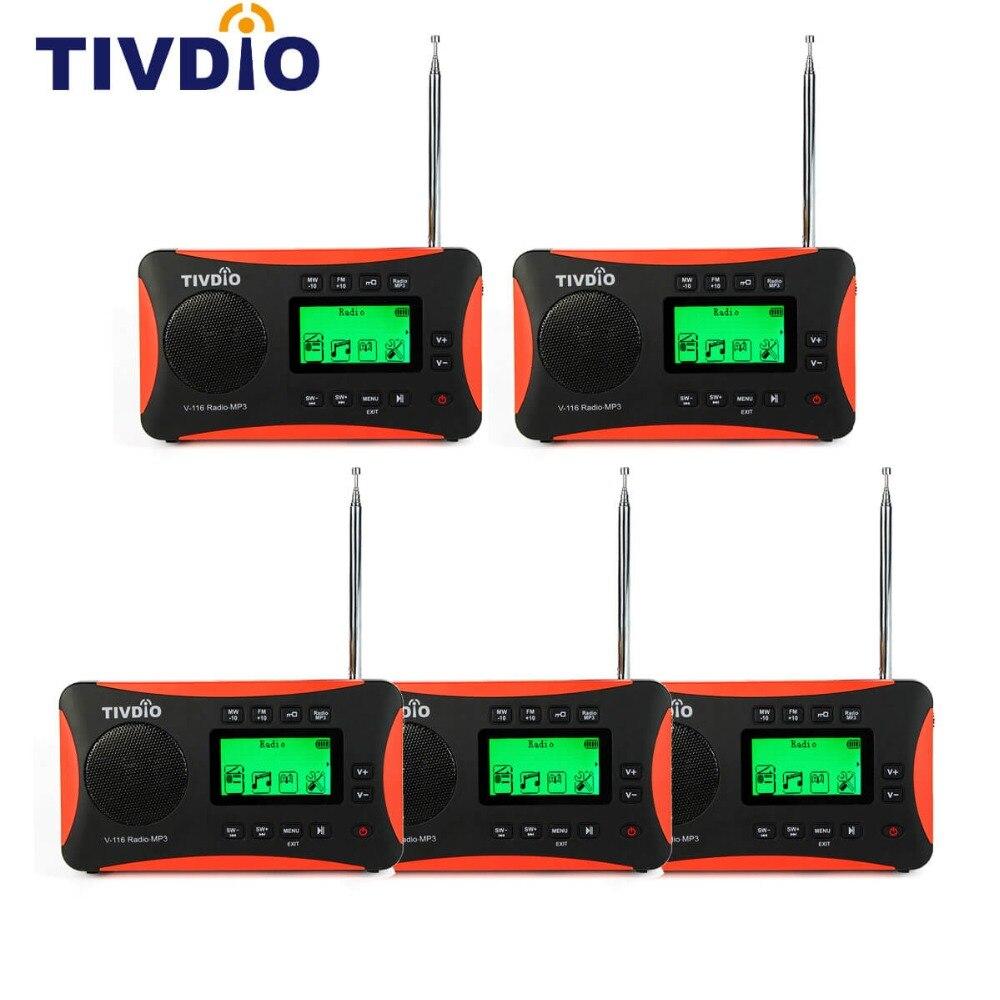 5pcs TIVDIO V 116 Portable Radio FM MW SW Multiband Radio Receiver MP3 Player with Sleep Timer Alarm Clock Radio F9206A
