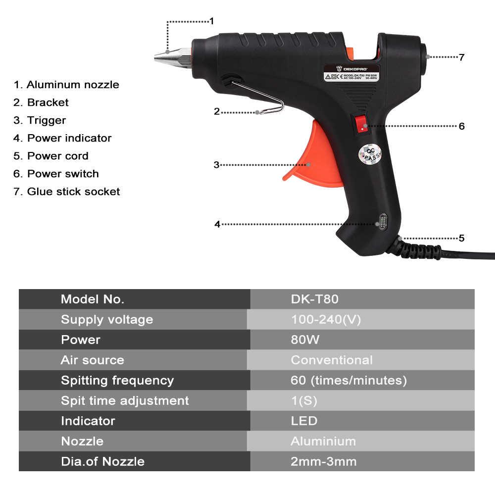 Deko 80W 100-240(V) eu Plug Hotmelt Lijmpistool Met Lijm Stok Industriële Guns Thermo Elektrische Warmte Temperatuur Tool