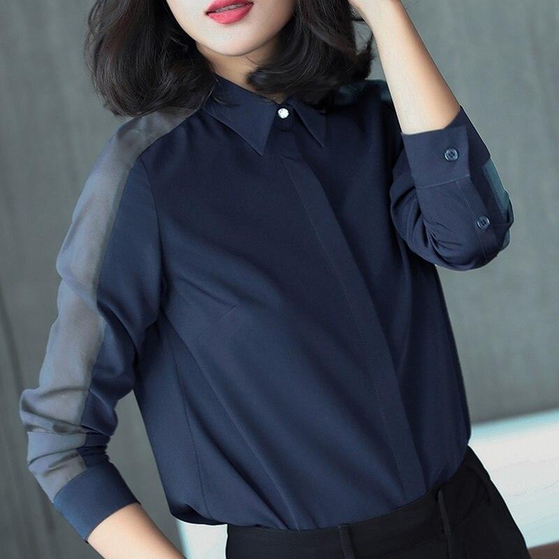 Ol женские топы и блузки деловая Рабочая одежда летняя Однотонная рубашка размера плюс с длинным рукавом Женская корейская модная женская одежда DD2081 - 6