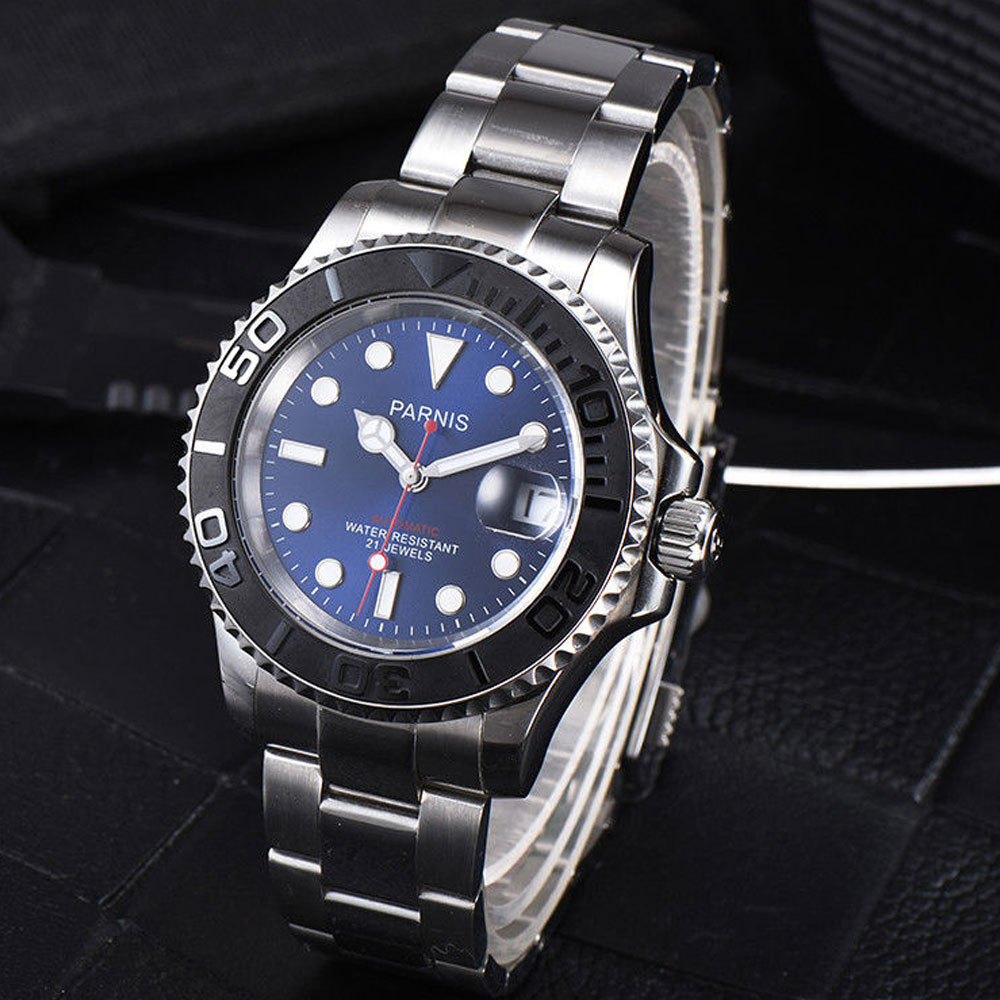41mm Parnis Blue dial Stainless Steel Sapphire glass Deployment Clasp Newest Hot 21 jewels miyota Automatic movement Men's Watch 41mm parnis blue dial ceramic bezel stainless steel sapphire glass date adjust 21 jewels miyota automatic movement men s watch