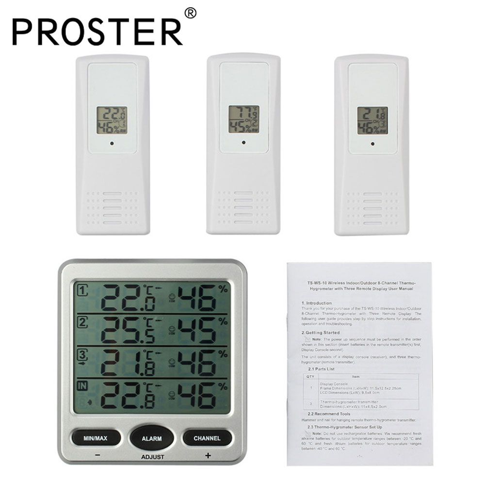 Digital Thermometer Hygrometer Weather Station With 3 sensors 8 Channel Temperature Large LCD Display Max Min Value Alarm Meter sb0864 industrial temperature sensors sonde ve go 154 mr li