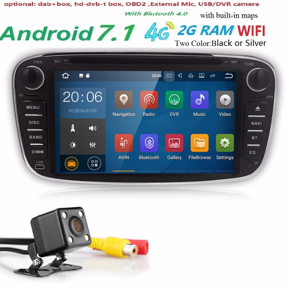 Quad core Android 7.1 2 din android car radio gps for Ford Focus 2 S-max Mondeo C-max 2GB Ram 16GB ROM Mirror link wifi 4G dvd