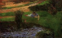 High quality Oil painting Canvas Reproductions Pond with Ducks (Girl Amusing Herself) (1881) by Paul Gauguin hand painted