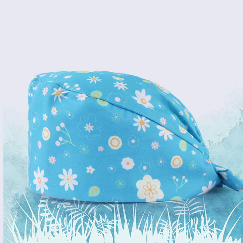 Flower Blue Women Nurse Surgical Caps Medical Scrubs Hat Veterinarian Work Hats 100% Cotton Doctor Chef Waitress Working Hats