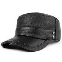 Leather Hat Men Autumn Winter Korean Version Baseball Cap Male Flat Top Leisure Hats Middle Age Elderly Man Sheepskin Caps H6985