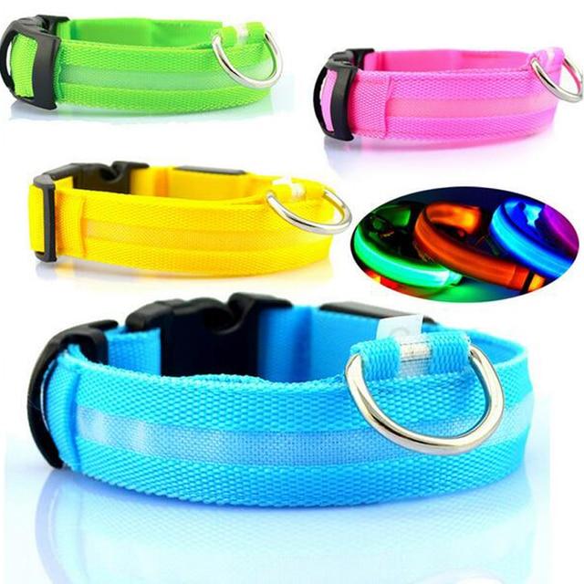 Collar de perro de nailon LED luz de noche seguridad mascotas suministros gato LED Collar de perro para perros pequeños collares LED brillantes accesorios para mascotas