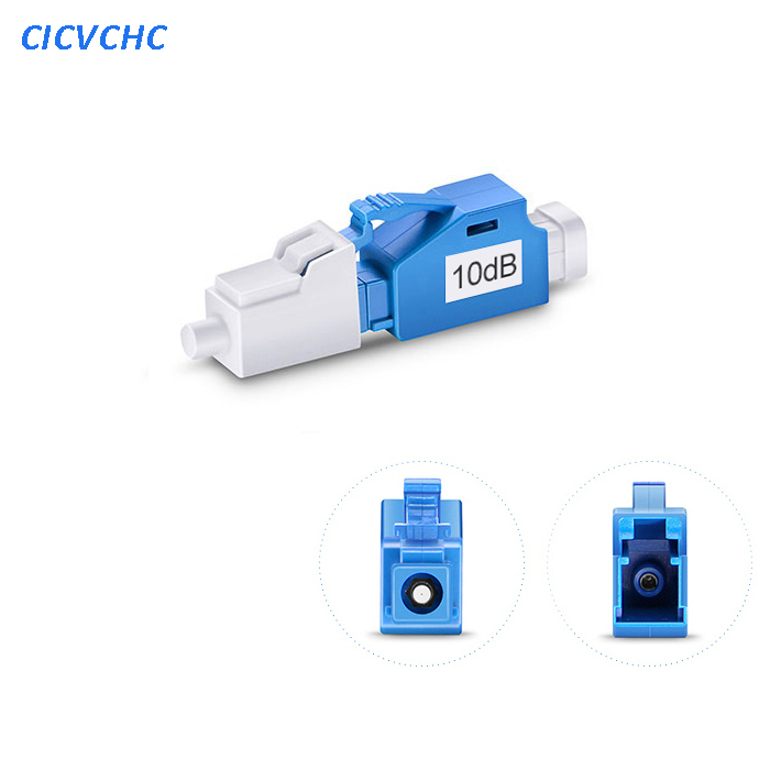 5pcs 10dB LC/UPC Singlemode Fixed Fiber Optic Attenuator, Male-Female