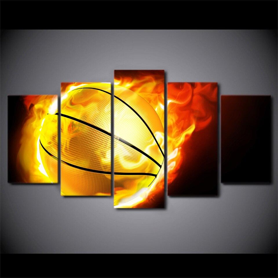 5 pièce HD imprimé flamme basket encadrée mur photo Art affiche peinture sur toile pour salon décoration de la maison moderne