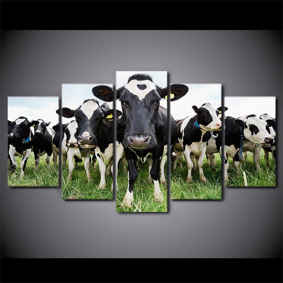 5 pièces Toile HD Imprimé Lait Vache Affiche Encadrée Mur Art Photo Peinture Pour Salon Décor Industriel
