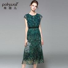 POKWAI Casual Summer Silk Dresses Women Fashion High Quality 2017 New Arrival O-Neck Short Petal Sleeve Draped Pleated Dresses