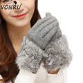 Autumn Winter Ladies Cashmere Gloves Female Bow Tie Rabbit Fur Wool Mitten Gloves Sweet Elegant All Match Women Grey Gloves