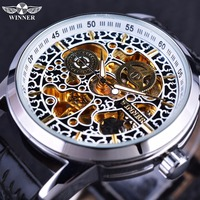 Wiinner Chinese Style Golden Skeleton Inside Silver Case Black Leather Strap Luxury Brand Watches Men Automatic