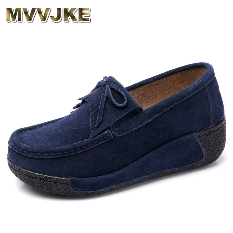 MVVJKE 2018Autumn women flats shoes tassel fringe platform shoes   leather     suede   casual shoes slip on flats footwear Creepers