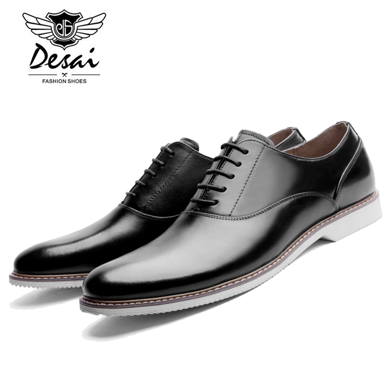 Desai Summer Men Business Casual Leather Shoes Genuine Leather British Men's Shoes Lace-up Breathable Mens DS8089 the spring and summer men casual shoes men leather lace shoes soled breathable sneaker lightweight british black shoes men