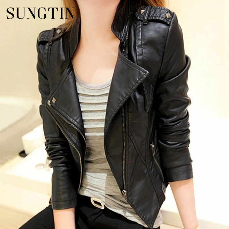 Sungtin Spring Autumn Women PU Leather Jackets Short Coat Female Fashion Rivet Cool Punk Faux Leather Jacket Black Outwear