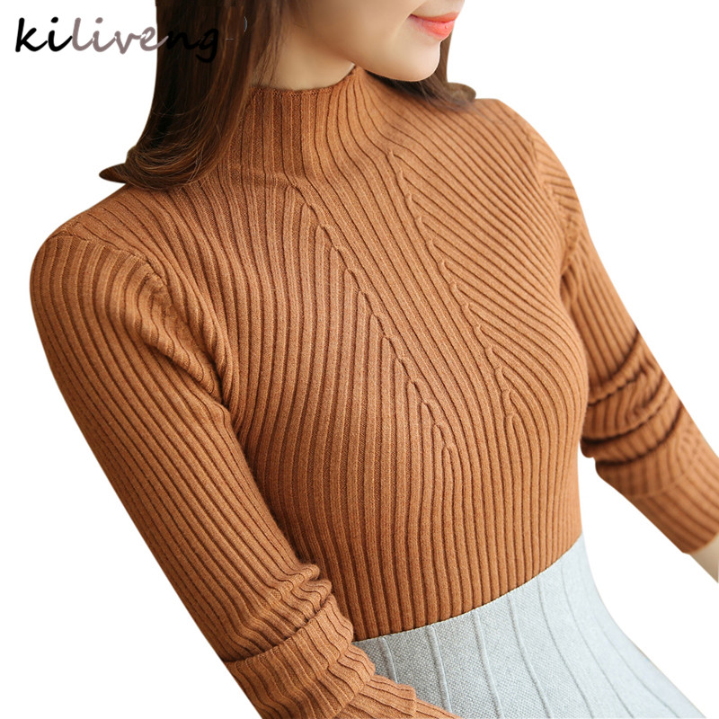 Knitted Sweater Fashion Jumper Yellow Pullovers Long-Sleeve Warm Spring Women Ladies