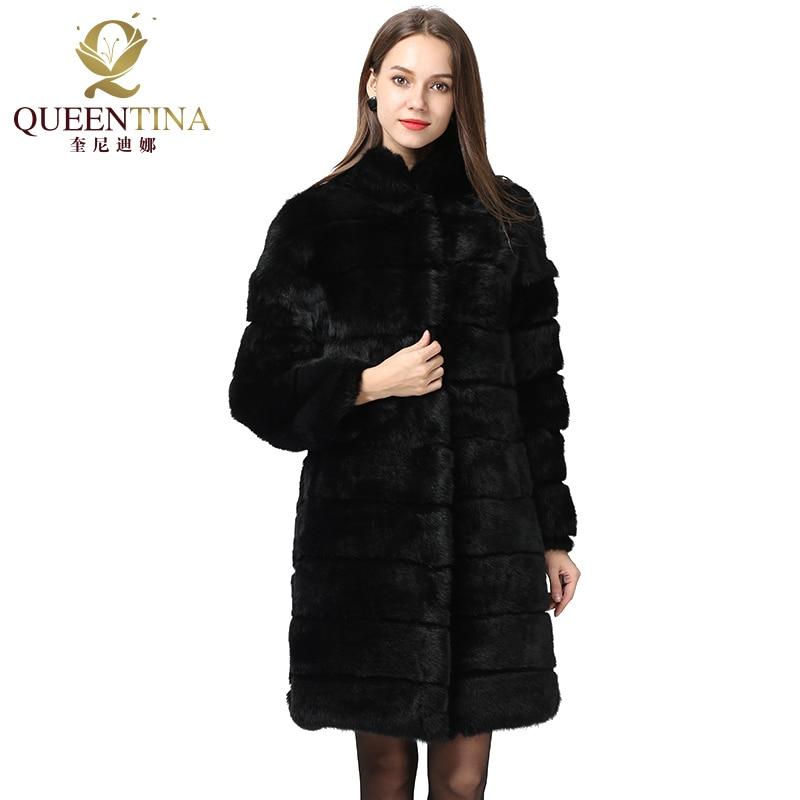 New 2018 Winter Real Rabbit Fur Coat Stand Collar Thick Soft Warm Natural Fur Long Jacket Women Outwear Full Pelt Fur Coats