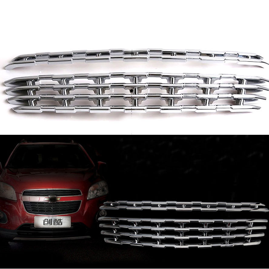 2PCS/set Grill Grille Chromed ABS Plastic Front Center Grille Cover Trim Fit For Chevrolet TRAX 2014 Car Styling Covers front grille led emblem logo light 4 colors abs decorative grill lamp for f ord r anger t7 2016 2017 car styling
