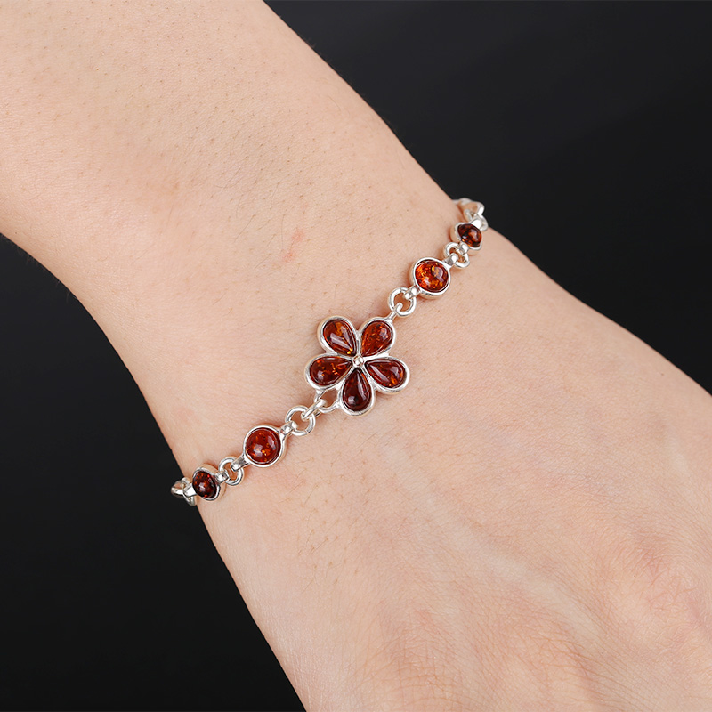 Amber beeswax dream floral heart necklace pendant S925 silver jewelry in Bracelets Bangles from Jewelry Accessories