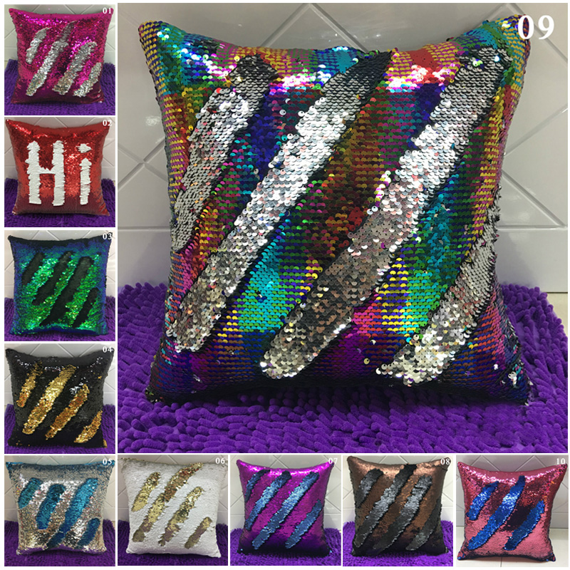 40*40 cm Twill Stripe Hi Glitter Sequins Reversible Magic Mermaid Pillow Cover Swipe Sofa Cushion Case Pillowcase Home Decor S10