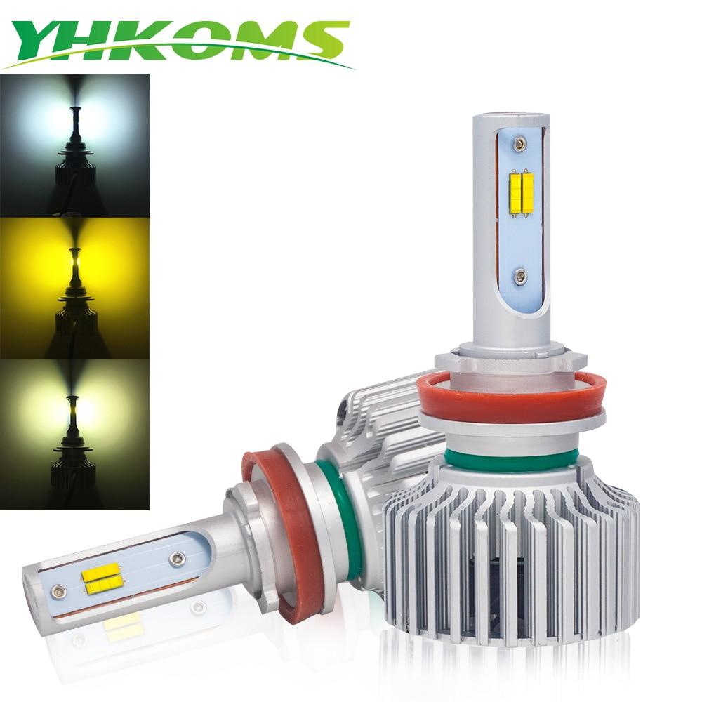 YHKOMS Auto H11 LED Bulbs H4 H7 H1 H3 H8 H9 880 881 H27 9005 HB3 9006 HB4 3000K 4300K 6000K Fog Light Car Headlamp 12V Canbus 2pcs h7 led h1 h4 h3 h11 h8 h9 h27 880 881 9005 9006 hb3 hb4 led headlight bulbs with philips chip 12v car light auto fog lamp