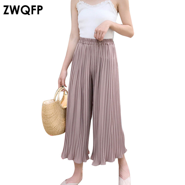 c9ec516f27b0 2017 New Fashion Chiffon Pleated Pants Women Trousers Korean Loose Casual  Solid Color Vertical Stripes High Waist Wide Leg Pants