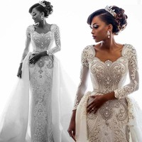African Lace Mermaid Wedding Dress 2020 Long Sleeves Scoop Neck Beaded Crystals Over Skirts Court Train Wedding Bridal Gown