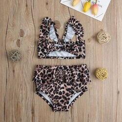 Лидер продаж, комплект из 2 предметов для маленьких девочек, Леопардовый цветочный принт, купальный костюм, бандаж, оборки, детский пляжный л... 5
