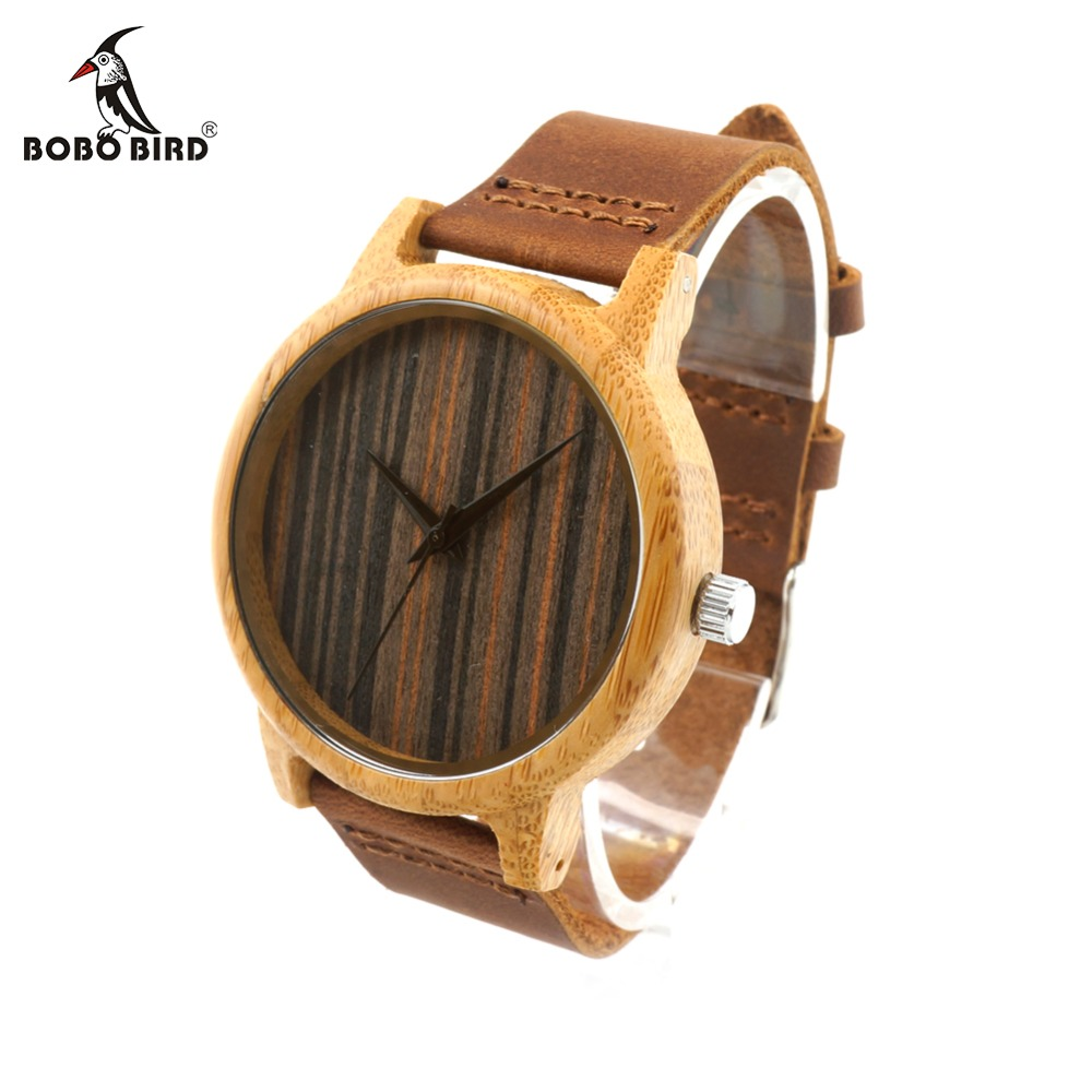 BOBO BIRD CaA23 Bamboo Wooden Watch Brand Designer Soft Leather Band Wooden Dial Face Black Needles