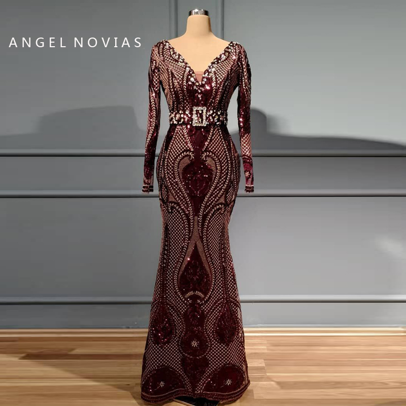 Muslim Purple Long Sleeve Evening Dresses 2019 With Crystals Moroccan Kaftan Formal Prom Party Gown