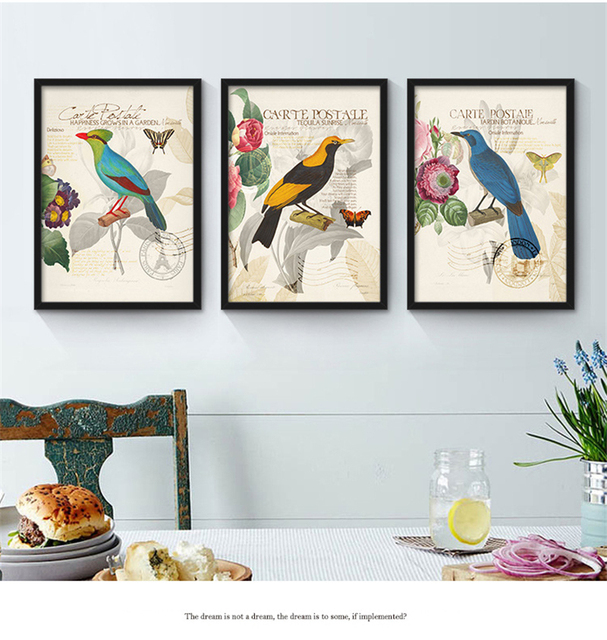 colorful birds flowers theme murals american countryside style
