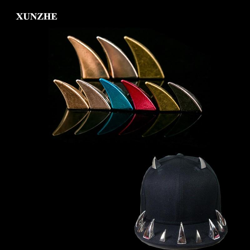 XUNZHE 10pcs/lot Ox Horn Design Shape Rivet Stud Punk Rock Perforated Color Studs Leather Craft Rivet Bullet Spikes Clothing/hat