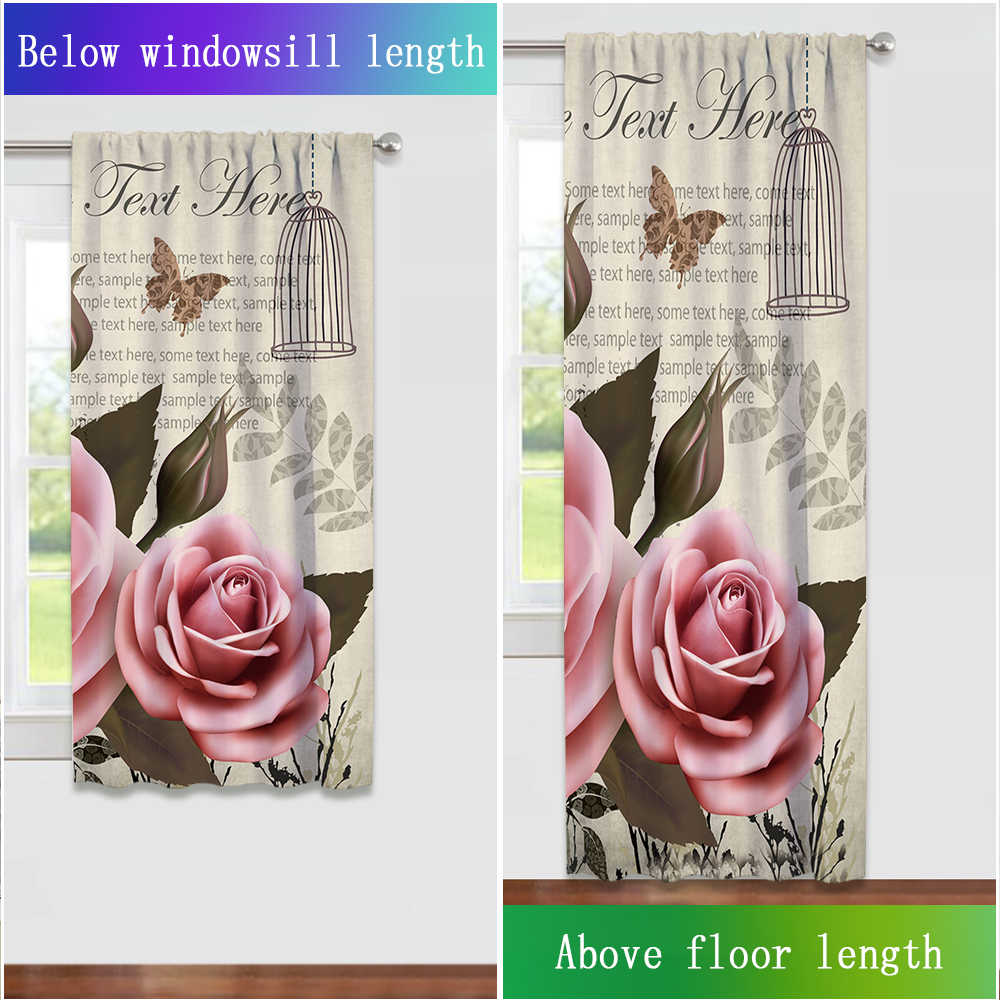 Miracille Pink Floral Curtains For Living Room Bedroom Window Drapes 1-2 Pieces Chic Flowers Roses Curtain For Girls Bedroom