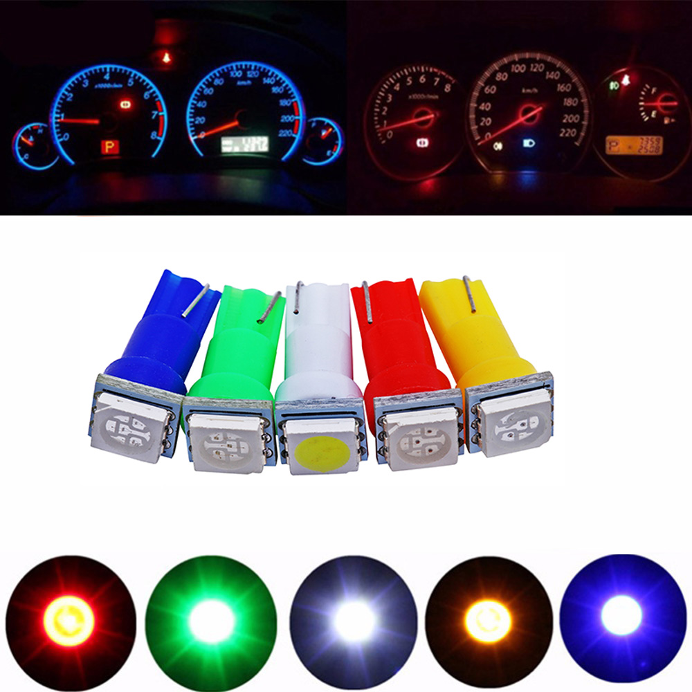 DIC 20Pcs T5 5050 1SMD Instrument Light bulbs 24V DC Wedge LED White Green Yellow Pink Red Blue Car Auto Dashboards Gauge Lamp(China)