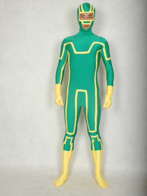 Lycra Spandex Superhero Kick Ass Costume With Eyes And Mouth Open Zentai Kick Ass Cosplay Full Bodysuit